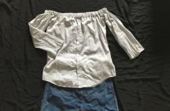 时尚达人教你老款旧衬衣如何改造成新潮的一字肩小上衣