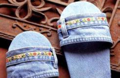 旧牛仔裙改造 DIY成夏天室内拖鞋