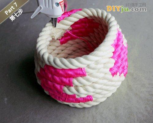 绳子DIY收纳盒 第七步