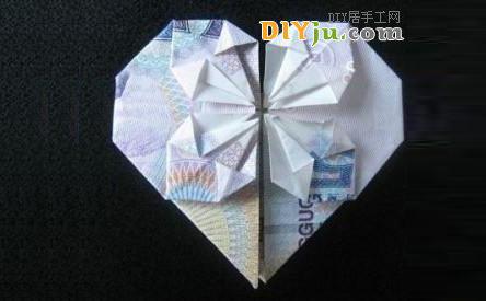 用钱折纸心:5元人民币折心图解教程