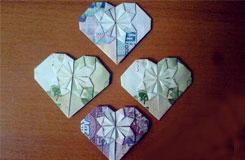 【钱币折纸欣赏】用5毛、5元、1元钱折纸心