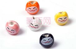 中国结DIY材料8MM卡通纯色小猫陶瓷珠子