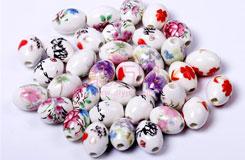 中国结DIY材料:橄榄贴花椭圆陶瓷珠子
