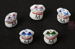 中国结DIY材料字母贴花陶瓷猫珠子