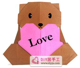 爱心呆呆熊折纸