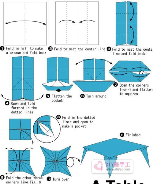 手工制作幼儿简单折纸小桌子教程