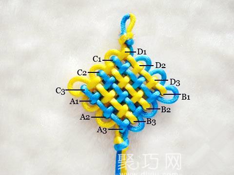 中国结之三回盘长结结构示意图
