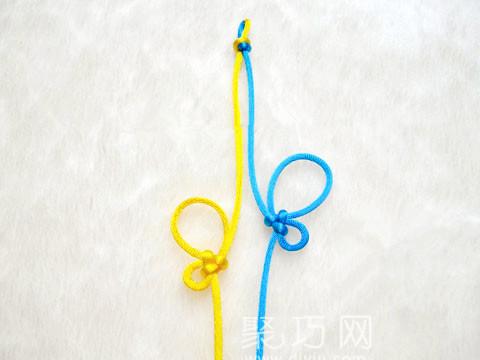 盘长蝴蝶酢浆草结挂饰编织步骤2